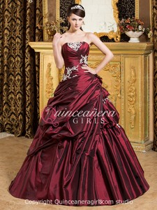 Ball Gown Flower Sweetheart Corset Taffeta Long Quinceanera Dress