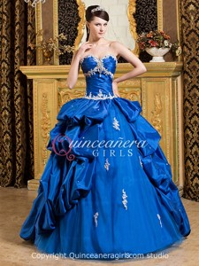 Royal Blue Puffy Sweetheart Corset Taffeta Long Quinceanera Dress