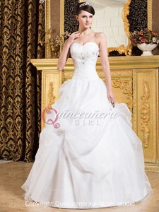 White Princess Beaded Sweetheart Corset Organza Long Quinceanera Dress