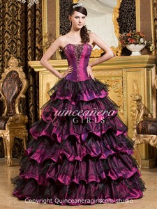 Purple Black Beaded Sweetheart Organza Long Quinceanera Dress