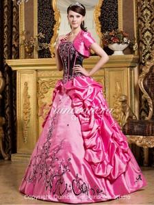 Hot Pink Ball Gown Strapless Corset Taffeta Long Quinceanera Dress