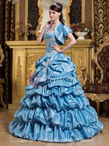 Blue Ball Gown Beaded Sweetheart Corset Taffeta Long Quinceanera Dress