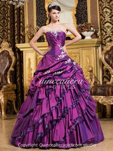 Purple Sweetheart Corset Taffeta Floor Length Quinceanera Dress
