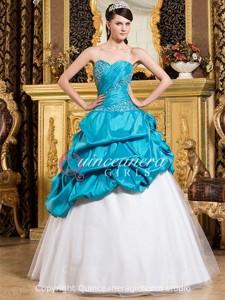 Blue White Beaded Sweetheart Corset Taffeta Long Quinceanera Dress