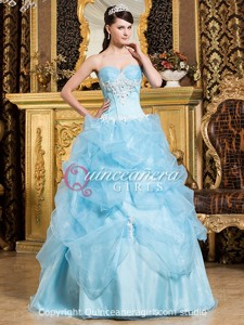 Light Blue Beaded Sweetheart Corset Organza Long Quinceanera Dress