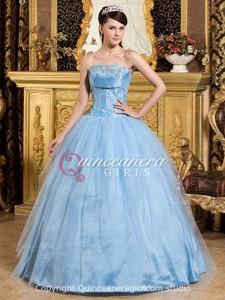 Blue Ball Gown Beaded Strapless Tulle Taffeta Long Quinceanera Dress