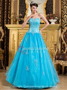 Blue Beaded Sweetheart Corset Organza Satin Long Quinceanera Dress