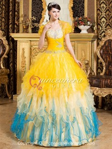 Colorful Ruffled Sweetheart Corset Organza Long Quinceanera Dress
