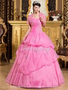 Hot Pink Ball Gown Sweetheart Corset Organza Long Quinceanera Dress