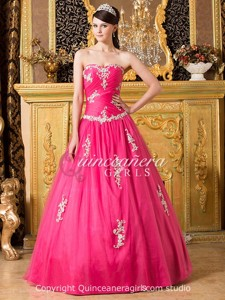Fuchsia Beaded Sweetheart Corset Tulle Long Quinceanera Dress