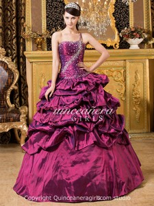 Purple Beaded Corset One Shoulder Taffeta Long Quinceanera Dress