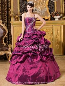 Purple Beaded Corset One Shoulder Taffeta Long Quinceanera Dress