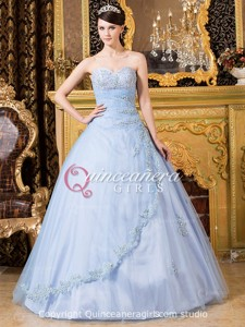 Light Blue Beaded Sweetheart Corset Tulle Long Quinceanera Dress
