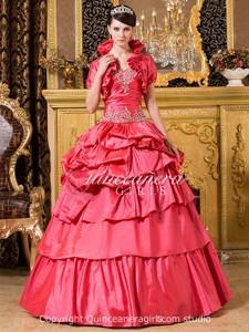 Ball Gown Beaded Sweetheart Corset Taffeta Long Quinceanera Dress
