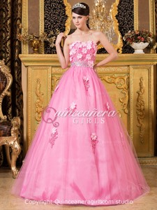 Puffy Flower Sweetheart Corset Tulle Floor Length Quinceanera Dress