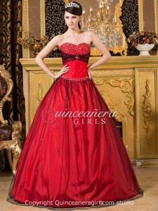 Red Black Ball Gown Beaded Sweetheart Tulle Long Quinceanera Dress