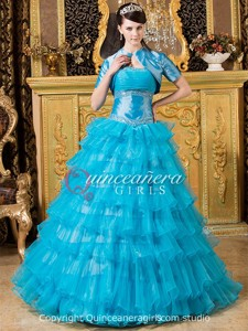 Blue Ball Gown Sweetheart Corset Organza Long Quinceanera Dress