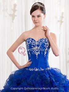 Royal Blue Ruffled Sweetheart Corset Organza Long Quinceanera Dress