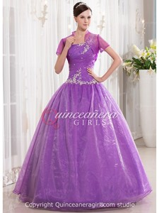 Lavender Ball Gown Beaded Corset Organza Long Quinceanera Dress
