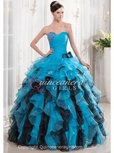 Blue Black Puffy Ruffled Sweetheart Organza Long Quinceanera Dress