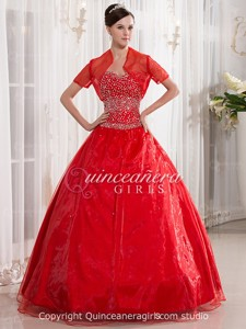 Red Ball Gown Beaded Sweetheart Corset Organza Long Quinceanera Dress