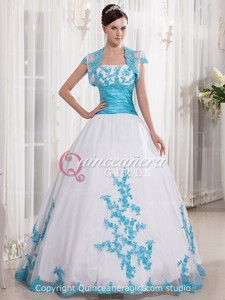 Blue White Ball Gown Beaded Strapless Organza Long Quinceanera Dress