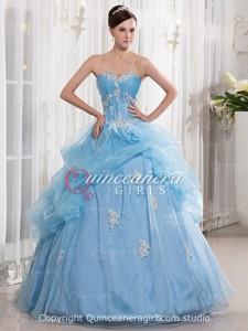Blue Ball Gown Beaded Sweetheart Corset Organza Long Quinceanera Dress