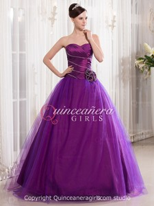 Purple Puffy Beaded Sweetheart Corset Organza Long Quinceanera Dress
