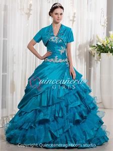 Blue Ball Gown Sweetheart Corset Taffeta Long Quinceanera Dress