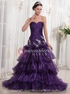 Purple Mermaid Beaded Sweetheart Corset Organza Long Quinceanera Dress