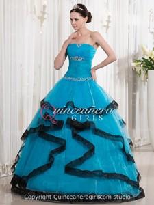 Blue Black Ball Gown Beaded Strapless Organza Long Quinceanera Dress