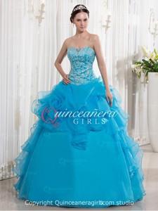 Blue Ball Gown Ruffled Sweetheart Organza Long Quinceanera Dress