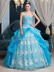 Blue White Puffy Beaded Sweetheart Corset Lace Long Quinceanera Dress