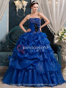 Royal Blue Ball Gown Beaded Strapless Organza Long Quinceanera Dress