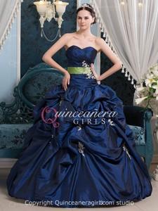 Royal Blue Ball Gown Beaded Sweetheart Taffeta Long Quinceanera Dress