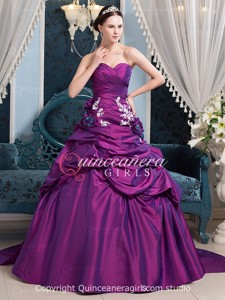 Purple Ball Gown Sweetheart Taffeta With Train Quinceanera Dress