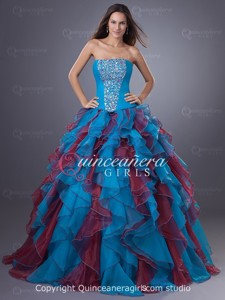 Blue Ball Gown Ruffled Strapless Organza Long Quinceanera Dress