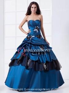Royal Blue Flower Sweetheart Corset Taffeta Long Quinceanera Dress