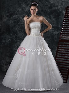 White Poofy Strapless Corset Tulle Floor Length Quinceanera Dress