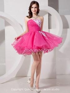 Fuchsia A-Line Beaded Sweetheart Organza Short Quinceanera Dress