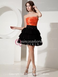 Black Orange Strapless Corset Tulle Taffeta Mini Quinceanera Dress