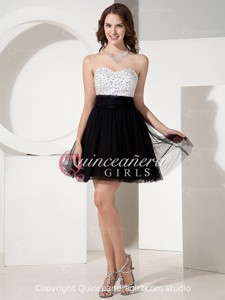 White Black Crystal Sweetheart Tulle Satin Mini Quinceanera Dress