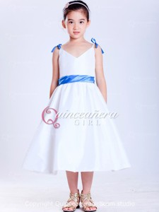Blue White Ball Gown Bow With Straps Taffeta Quinceanera Dress