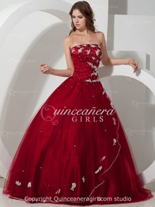 Burgundy Beaded Strapless Corset Tulle Satin Long Quinceanera Dress
