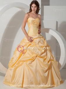 Yellow Princess Sweetheart Corset Taffeta Long Quinceanera Dress