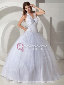 White Ball Gown Corset Halter Tulle Satin Long Quinceanera Dress
