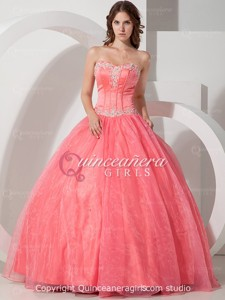 Peach Poofy Beaded Sweetheart Corset Organza Long Quinceanera Dress